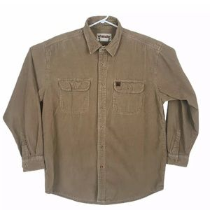 Wrangler Rugged Wear XL Tan Corduroy Western Shirt
